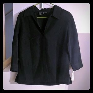 Rafaella Black Button Down Blouse Size 10